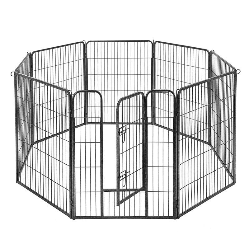 Grey Solid Metal Dog Crate 8 Panel Pet Playpen Rounded Corners Without Sharp Edge