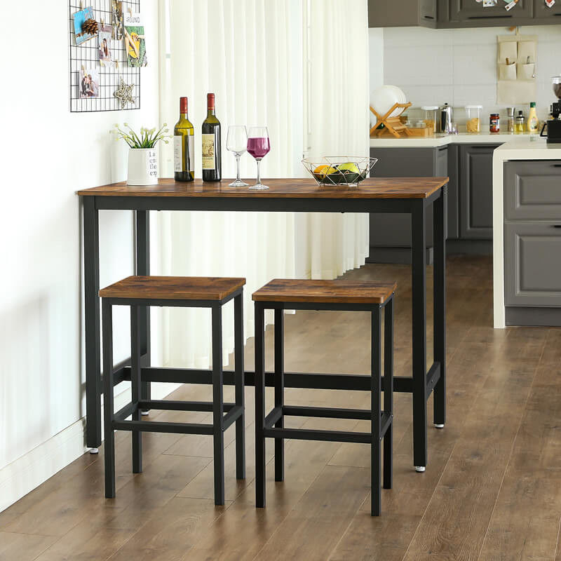 Wooden Bar Table And Stools Set, Kitchen Bar Furniture